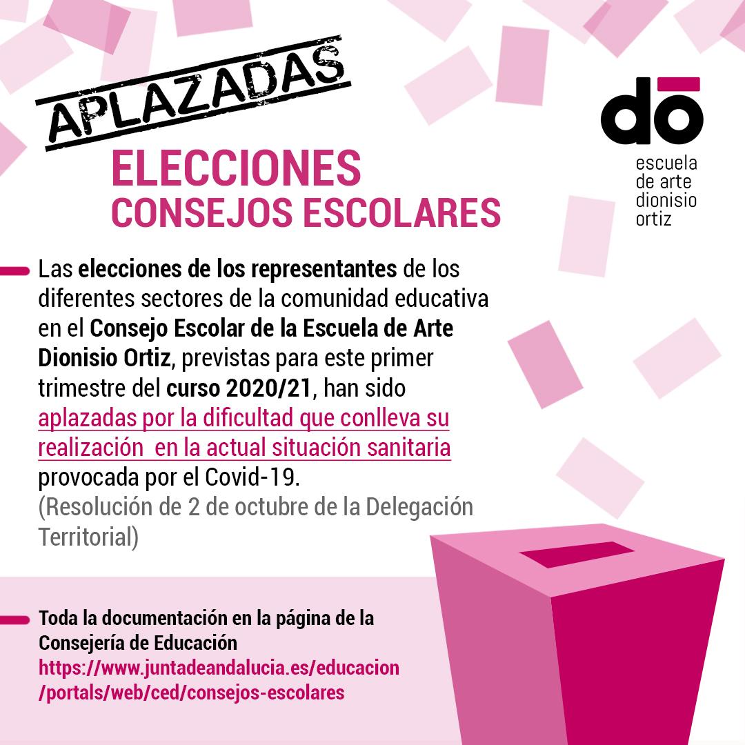 Aplazadas las elecciones para representantes al Consejo Escolar.