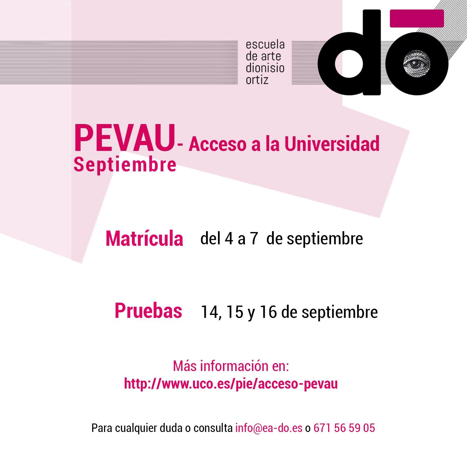 PEVAU - Acceso a la Universidad - Septiembre - 2020